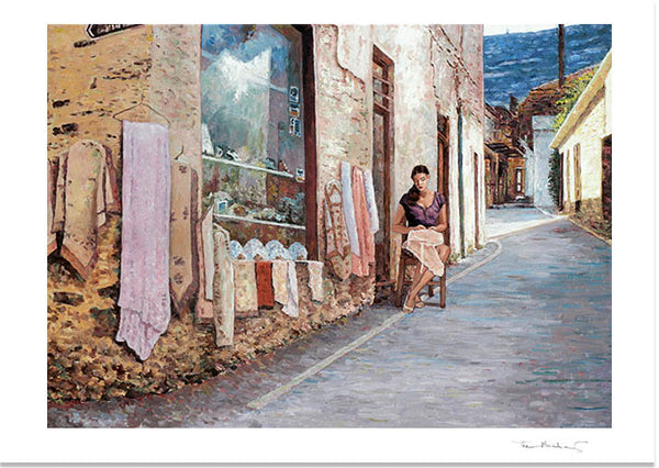 Cyprus tradition in Lefkara Fine Art Print by Theo Michael The Lace Maker