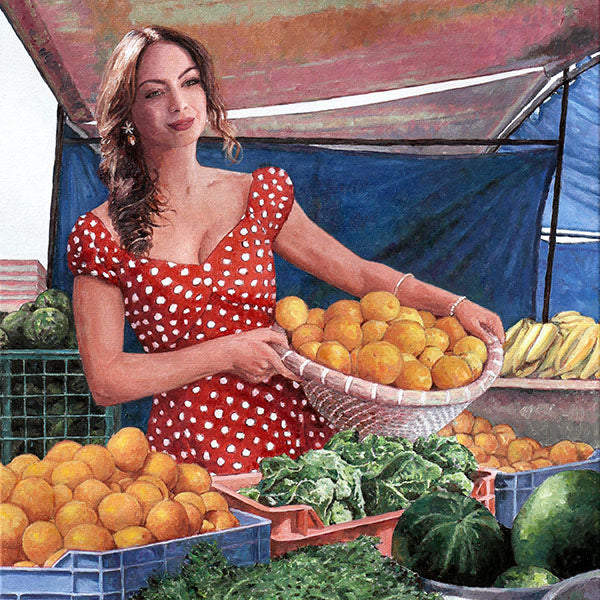 Tonia Buxton, fine art print of Lady At The Market