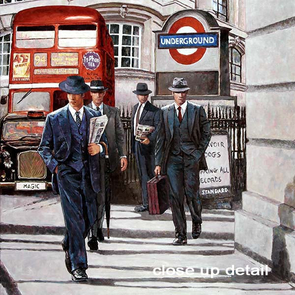 London oil painting with iconic red bus, taxi and underground sign, Let's Go To Work by Theo Michael