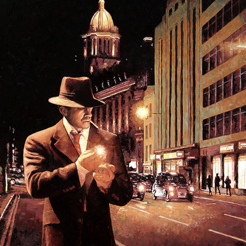 London At Night, Streets of London, an oil painting by Theo Michael