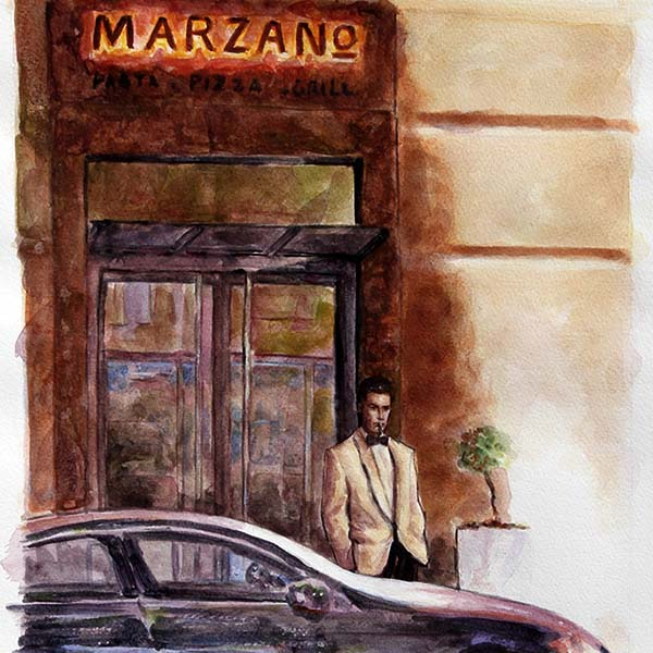 watercolour painting, Marzano Restaurant in Larnaca Cyprus by Theo Michael