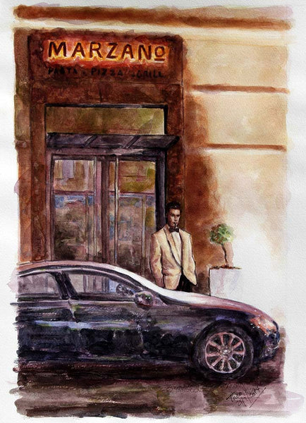 watercolour sketch, Marzano Restaurant in Larnaca Cyprus by Theo Michael
