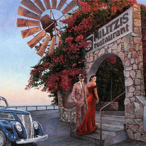 Larnaca Restaurant Militzis, an oil painting by Theo Michael