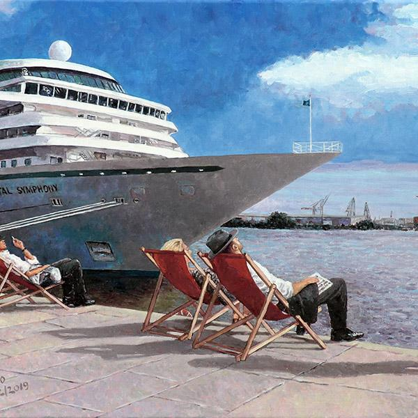 People In The Sun, an Edward Hopper inspired painting featuring Hamburg harbour as a background