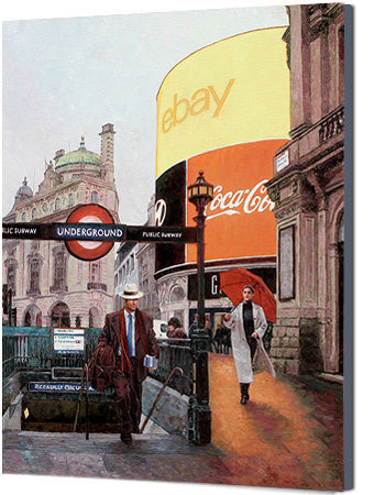 Canvas print, Piccadilly Circus London, an oil painting by Theo Michael