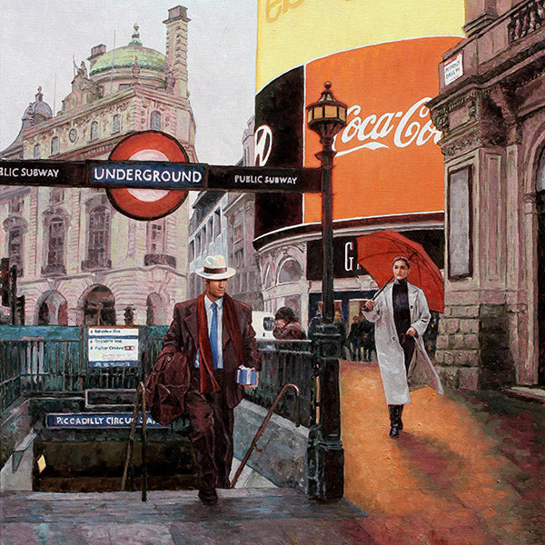 Piccadilly Circus, Theo Michael's oil painting of an iconic place