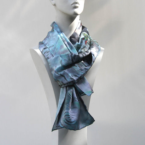 100% silk scarf with an original art design by Theo Michael, Romance Isn't Dead