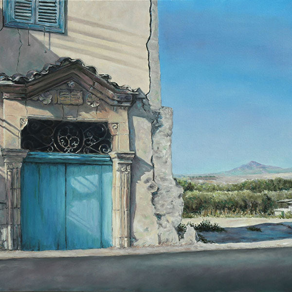Mediterranean Blue Door painting by Theo Michael with Stavrovouni in Cyprus