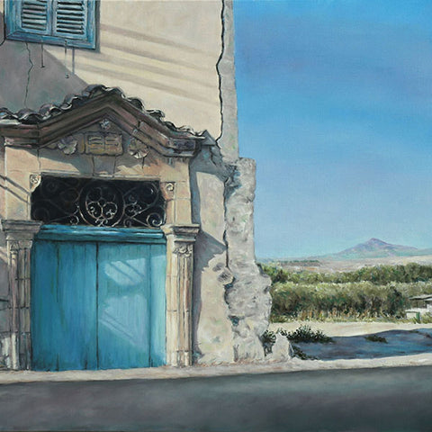 Mediterranean Blue Door painting with Stavrovouni in Cyprus by Theo Michael