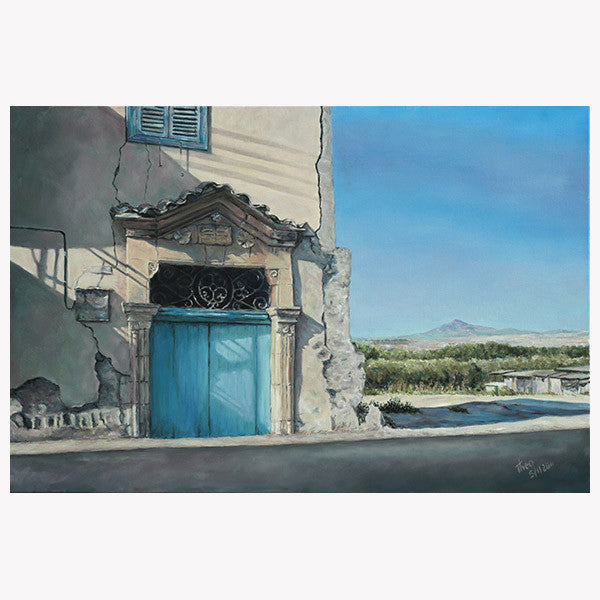 Mediterranean Blue Door painting by Theo Michael