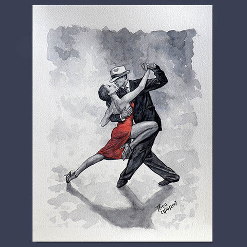 Original paintings Theo Michael, watercolour study Tango