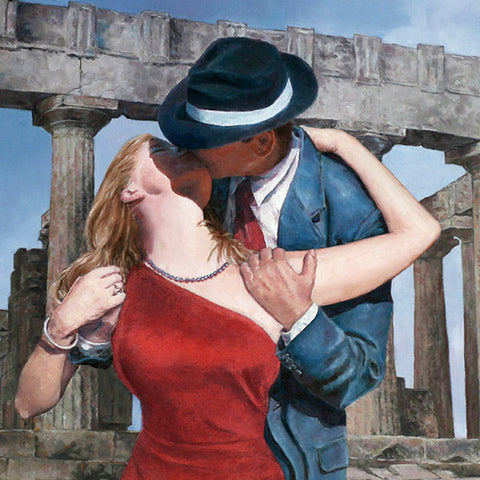 oil painting by Theo Michael, A Kiss Is Just A Kiss