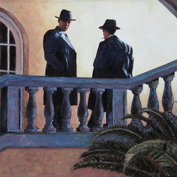 The Meeting, an original art noir style oil painting by Theo Michae