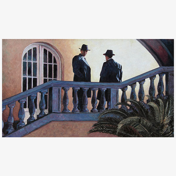 The Meeting, an original art noir style oil painting by Theo Michael