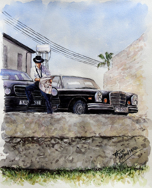 watercolour sketch, Old Mercedes in Larnaca Cyprus by Theo Michael