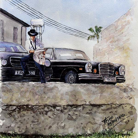 watercolour painting, Old Mercedes in Larnaca Cyprus by Theo Michael
