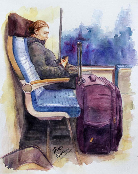 The Passenger, an original watercolour sketch by Theo Michael