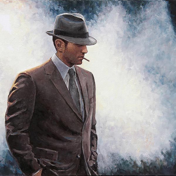 The Private Eye, an original oil painting by Theo Michael