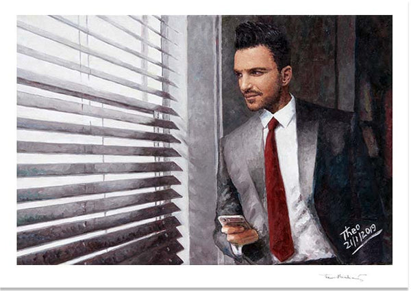 Peter Andre painting by Theo Michael, The Waiting Game