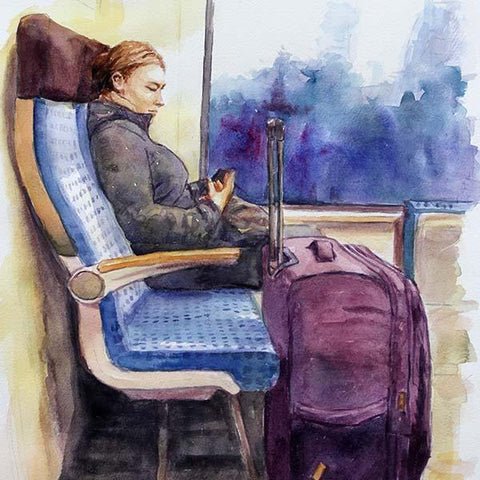 watercolour sketch The Passenger by Theo Michael