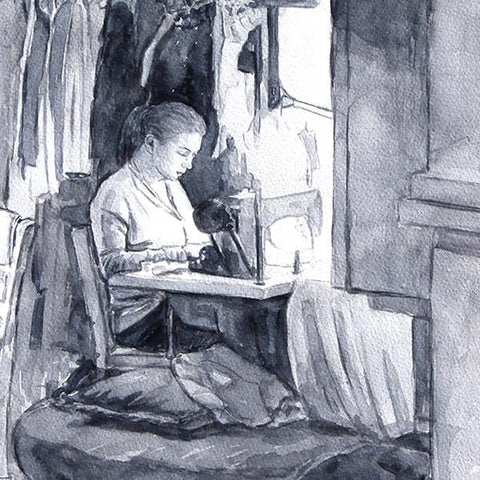 watercolour sketch, the seamstress by Theo Michael