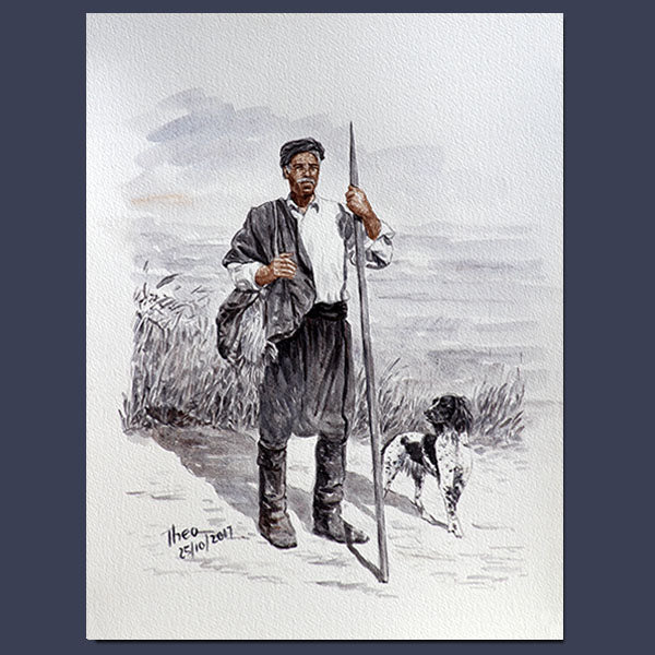Original paintings Theo Michael, watercolour study The Shepherd