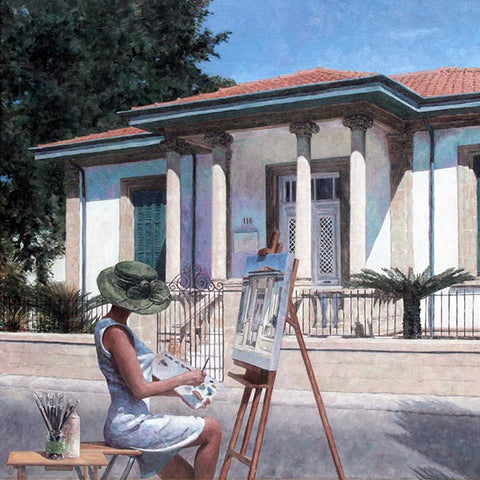 Summer Time, Mediterranean painting by Theo Michael, an Edward Hopper Tribute