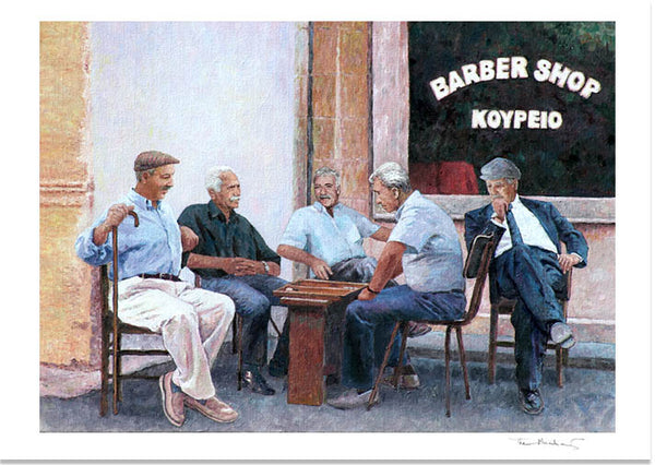Fine Art Print by Theo Michael, The Backgammon Players, a Cyprus tradition