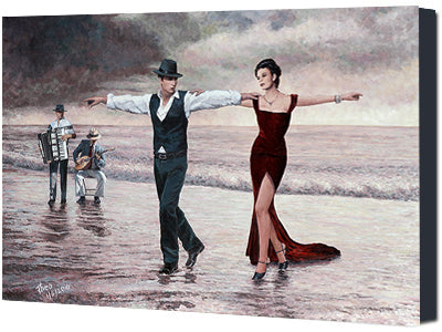Zorba The Greek inspired canvas print, The Beach Quartet Lady in Red by Theo Michael