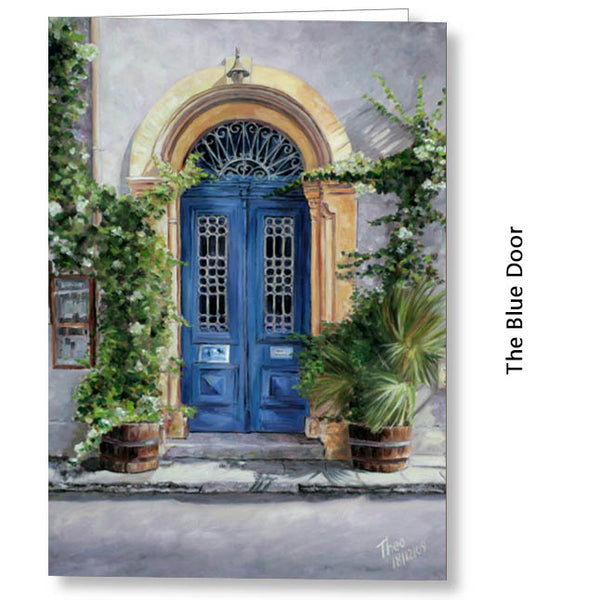 Greeting Card, Larnaca art cafe 1900, Cyprus Blue Door
