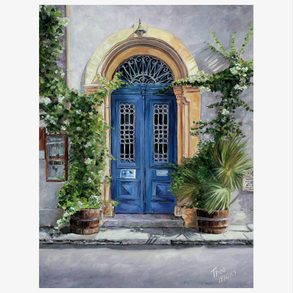 Mediterranean paintings by Theo Michael, Blue Door Art Cafe