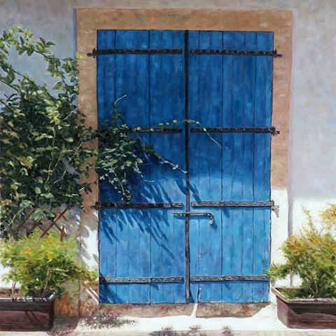 Mediterranean paintings by Theo Michael, Blue Door In Summer Light
