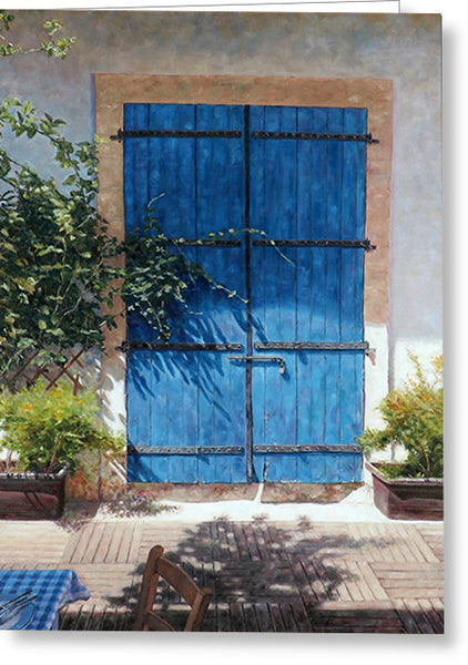 Greeting Cards By Theo Michael, Blue Door In Summer Light