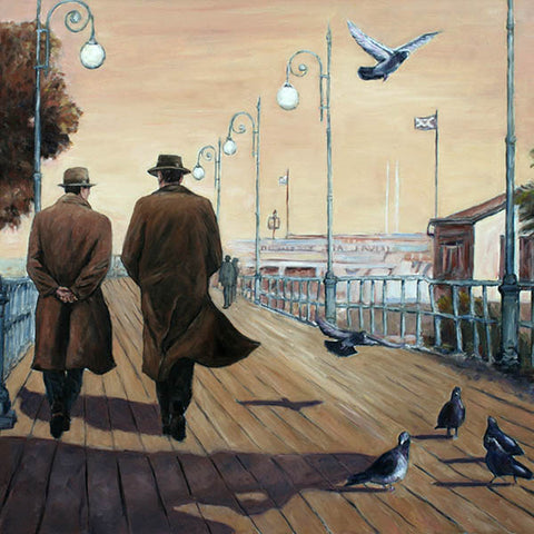 Art Noir painting by Theo Michael, Marina Boardwalk Larnaca Cyprus