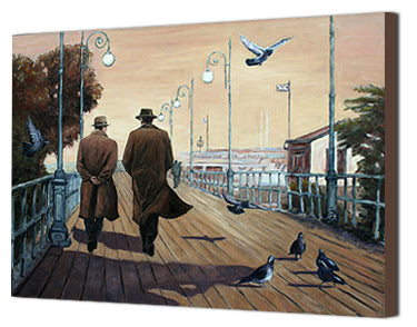 Canvas print of Larnaca Boardwalk on a stormy day, an oil painting by Theo Michael