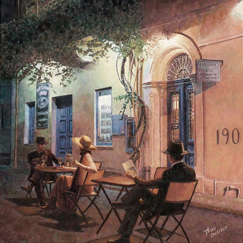 Romantic paintings by Theo Michael, Cafe At Night