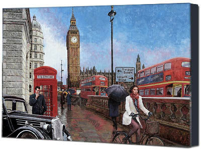 Canvas print of Big Ben in London, an oil painting by Theo Michael