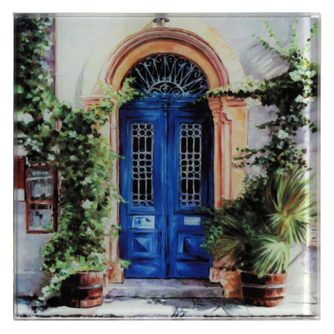 Glass Coaster, Mediterranean art design, The Blue Door Art Cafe 1900