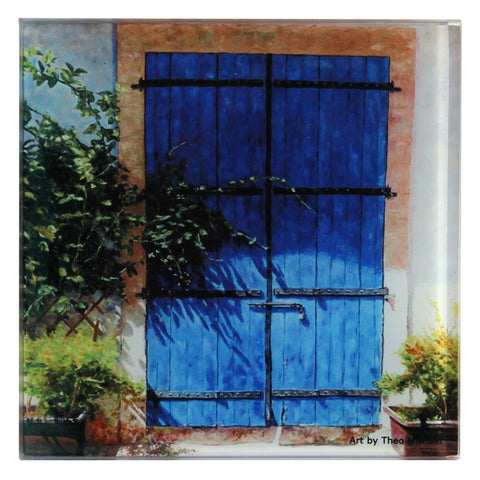 Glass Coaster, Mediterranean design Blue Door In Summer Light