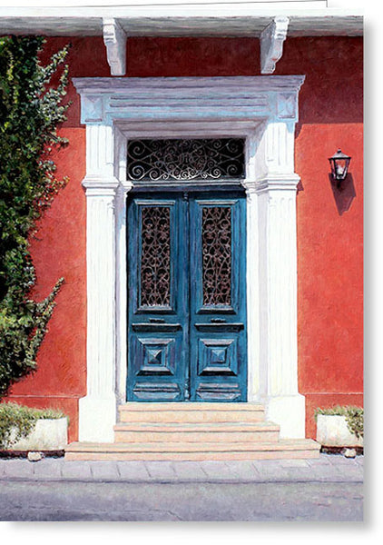 Greeting Cards By Theo Michael, Cyprus Blue Door