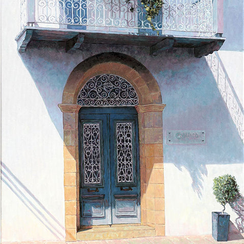 Mediterranean Wall art by Theo Michael, Blue Door With Balcony