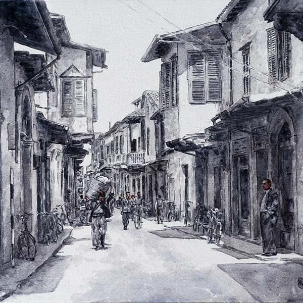 larnaca town 1950s, fine art print of Cyprus traditions