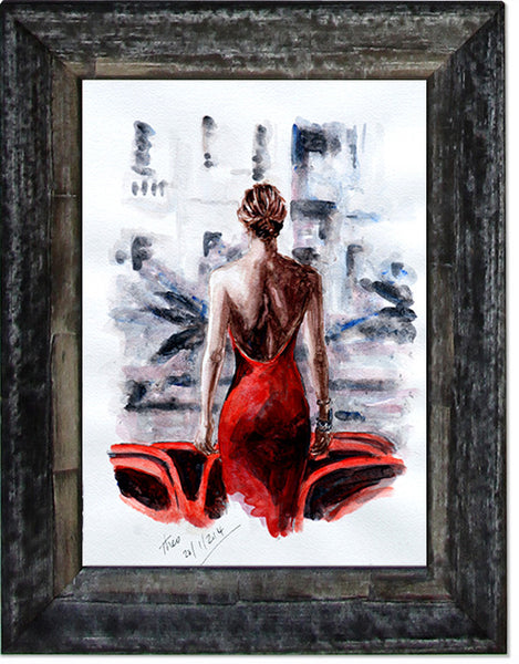 The Lady In Red, limited edition giclee fine art print
