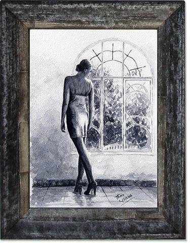 Lady By The Window, limited edition giclee fine art print
