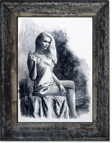 Lady Sitting, limited edition giclee fine art print