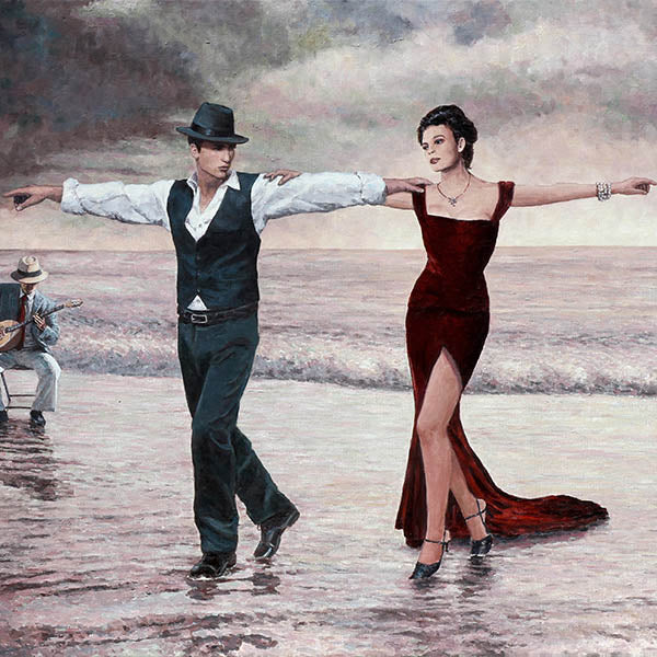 Romantic paintings by Theo Michael, The Beach Quartet Lady In Red