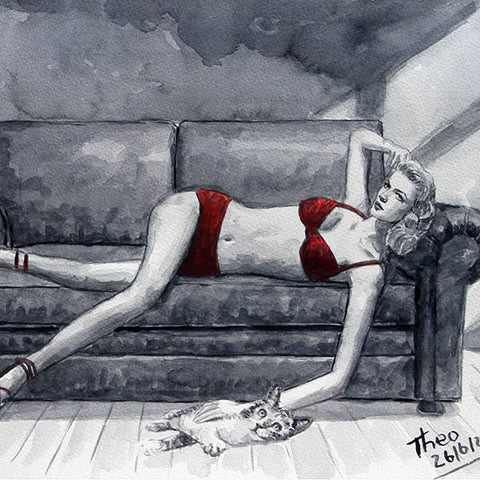 watercolour study, boudoir painting by Theo Michael