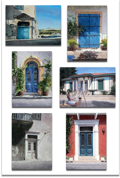 Set of six Mediterranean Doors Greeting cards by Theo Michael