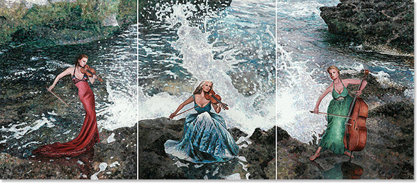 Mediterranean Canvas print by Theo Michael, Making Music triptych