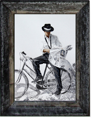 Man With Bicycle, limited edition giclee fine art print